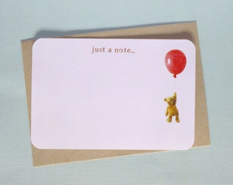 Floating Teddy Bear with Balloon Note Cards - Just a Note - with envelopes