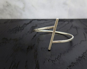 Cross Silver Bangle, geometric bracelet, silver bangle, minimalist bangle, thin bracelet, thin bangle, hammered bracelet