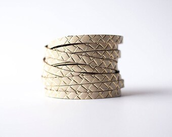 Leather Bracelet / Original Sliced Wrap Cuff / Woven Gold