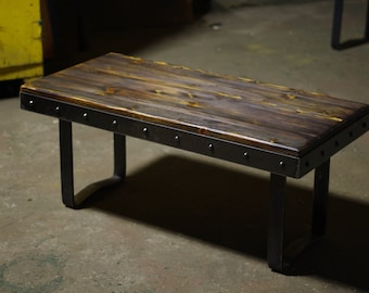 Butcher Block Style Spruce & Steel Coffee Table