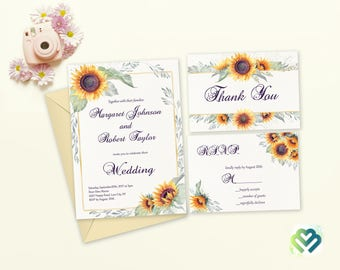 Sunflowers Theme Fall Wedding Invitation Set Printable Wedding Invite Country Wedding Autumn Wedding Suite Sunflower Wedding Theme DIY Cards