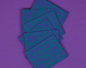 Patterned Note Cards | Set of 6, A2, Teal, Purple, Circles, Blank, Hand Printed, Note Card Set, Unique Stationery, With Envelopes