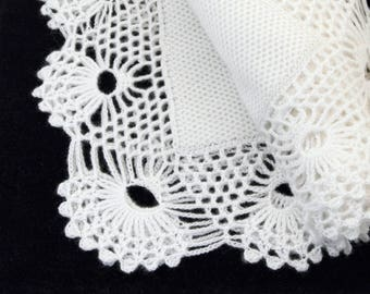 Knitted Baby Blanket Snow White, Christening Baby Blanket with Lace Edging, Baby Shower Gift Crochet Lace Blanket,  Mohair Blanket