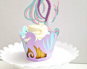 Mermaid Cupcake Wrappers Mermaid Party Cupcake Set Jellyfish topper Seahorse Cupcake Wrapper Under The Sea Party Decorations Mermaid Party
