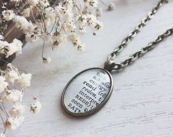 read necklace - book - book lover gift - book necklace - literary gift - paper anniversary - book jewelry - bookish gifts - anniversary gift
