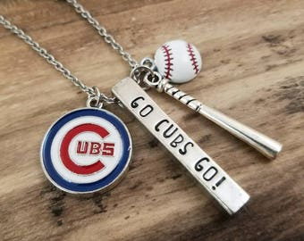 Chicago Cubs Necklace - MLB Baseball Jewelry - Go Cubs Go - Gift For Her