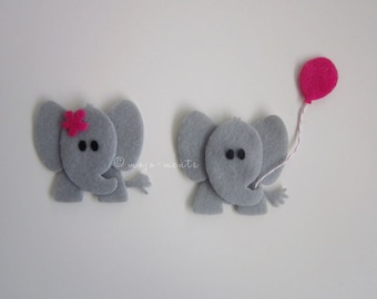 Felt Elephant Die Cuts - Pack of 5 - Assembled and Ready To add Straight On To Your Projects
