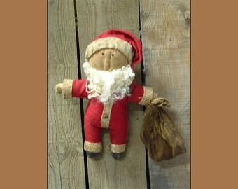 Primitive folk art little fat Santa  pdf digital e pattern HAFAIR OFG faap 390