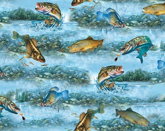 Quilting Treasures, So Many Fish, So Little Time  Fish Scenic 25924 -B  Lt BlueCotton Fabric for Quilting Free Shipping