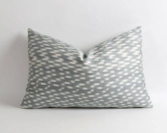ikat pillow cover // Double side silk ikat // Gray and white pillow cover // Handwoven & hand-dyed silk ikat pillow // 14x22 inch