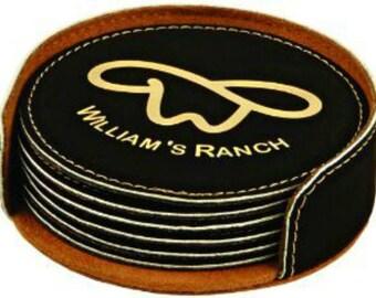 Custom Round Leatherette Coaster Set / Set of 6 / Personalized Housewarming Gift / Monogrammed Wedding Gift