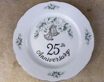 Vintage 25th Wedding  Anniversary Plate