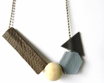 Geometric Necklace| Leather Necklace| Abstract Necklace| Leather Jewelry| Leather and Wood Necklace