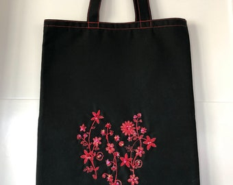 Red and Black Tote Bag, Elegant Embroidery Designs Use in this Pretty Bag, Black Canvas Fabrics, Red Threads and Enhanced with Red Beads.