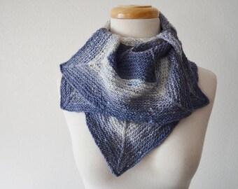 Petal Scarf in Horizon Blue, White, Long Gradient Stripes Handspun Merino Wool, Silk Noil, Bamboo, Miscellaneous Blend Yarn. Fall and Winter