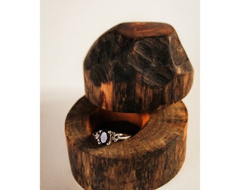 Driftwood Ring Box, Beaver Cut Ring Box, Engagement Ring Box, Wood Ring Box, Ring Bearer Box, Anniversary Gift