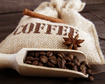 Coffee lover bag, Coffee beans, Coffee storage, Coffee gift bag, Coffee burlap bag.