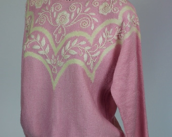 Vintage 1980's Baby Pink Acrylic Beaded Jumper