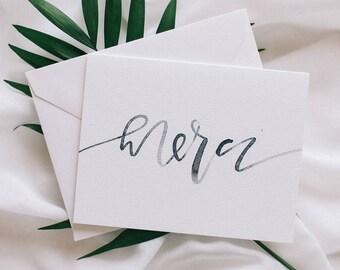 Watercolor Merci Card + Envelope