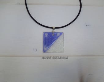 Purple and clear glass square pendant