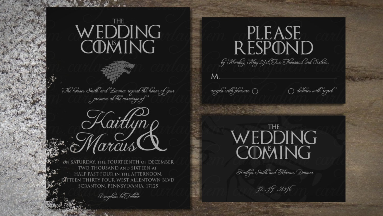 Game of Thrones Printable Digital Wedding Invitations Invite