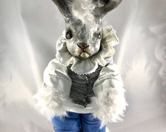 OOAK fine art doll: Jackalope with Lambs Wool Hair, Horsehair Whiskers, and Ruffled Blouse