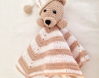 Cover crochet teddy bear Doudou white and beige-bear Amigurumi Nanna for baby/girl-Personalized gift with Name