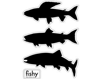 FLY FISHING DECALS: grayling, trout and salmon. Set of 3 stickers.
