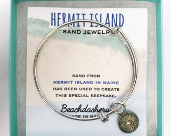 Hermit Island Sand Jewelry, Hermit Island Maine Sand Jewelry, Beach Sand Jewelry, Sand Jewelry, Summer, One of a Kind Gift, Made in Maine