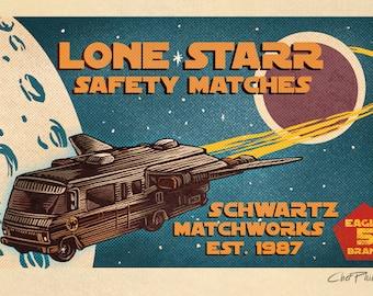 """Spaceballs Matchbox Art- 5"""" x 7"""" signed matted print"""