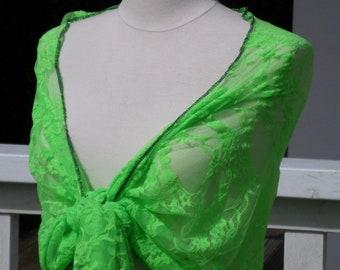 Nice neon green woman's Lacy shawl wedding party linen ' eva