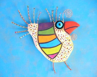 Spring Chicken, MADE to ORDER, Original Found Object Sculpture, Chicken Wall Art, Wood Carving, Chicken Wall Decor, by Fig Jam Studio