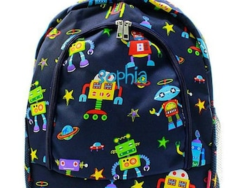 Monogrammed Backpack Personalized Robot Navy Blue Backpack Personalized Backpack Kids Backpack Girls Backpack Boys Backpack