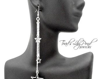"""Silver star earrings, long dangle earrings, shooting star jewelry, bohemian jewelry, very long silver star earrings 4.25"""" in silver tone"""