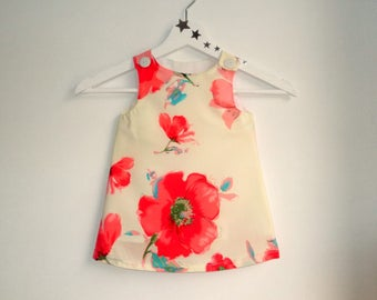 "Dress ""LUCIE"" 6-24 months, evolutionary, white off, red flowers"