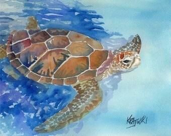 Sea Turtle Art Print of Original Watercolor Painting - 11x14