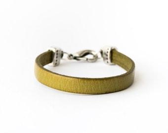 Green leather bracelet, leather bracelet, green leather, boho bracelet, rocker style, leather bracelet woman, leather bracelet men