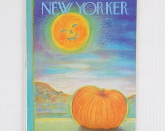 The New Yorker Magazine Entire Publication Nov 3, 1975. Purple, Blue, Green, Orange. Pumpkin in Nighttime Field with jock-o-lantern moon.