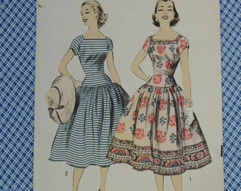Vintage Pattern c.1950's Advance No.7851 Dress, Featured in Mademoiselle, Sz.14