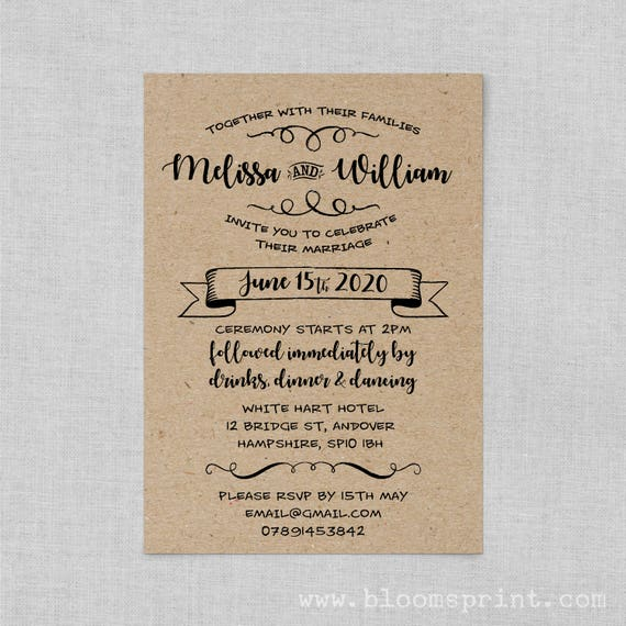 Rustic wedding invitations cheap, Kraft wedding invite suite, Rustic country wedding invitations, DIY printable wedding invitation kits