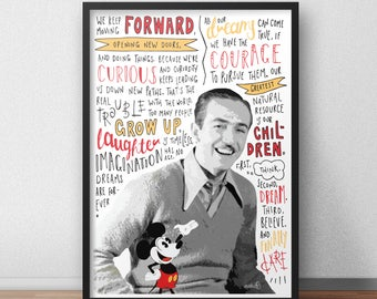 Walt Disney and Mickey Mouse quote print / poster hand drawn type / typography