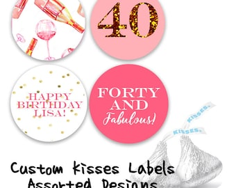 "Custom Birthday Pink and Gold Kisses Labels, Forty and Fabulous Custom Hershey Kisses stickers, Kisses Favor labels, 0.75"" round labels"