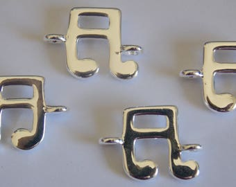 Connector 925 sterling silver - silver musical note