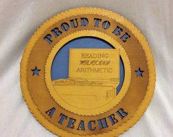 """Teacher """"Proud To Be A"""" Wall Plaque Wooden Model"""