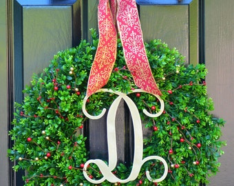 Christmas Wreath- Boxwood Wreaths with Red and Gold Berries Christmas Decor- Winter Decoration- Holiday Wreath- Christmas Wreaths- Monogram