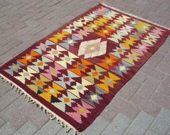 "Turkish Small Kilim Rug, handmade rug, small rug, bohemian rug, Turkish Rug, vintage rug, Kilim Rug, Kelim 54,7"" X 35,8"" inches, 139 X 91 CM"