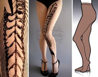 L/XL Fish Bone tattoo tights / stockings/ full length / pantyhose / nylons Deep Mocha