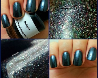 "Nail Polish - Holographic - ""Midnight"" - Free U.S. Shipping - Hand Blended - 0.5 oz Full Sized Bottle"