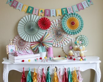 Hip Hip Hooray Birthday / Party In a Pinch / Party In a Box / Balloon Birthday Party / Girl Birthday Party / Vintage Birthday Party