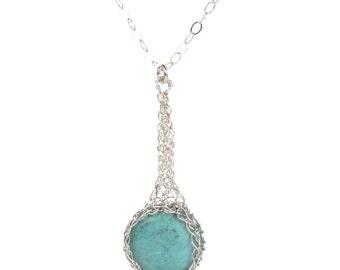 Long Turquoise Pendant Necklace, Silver Pendant Necklace, Turquoise Necklace, Unique Gemstone Jewelry for woman, Unique Turquoise pendant